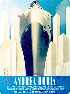 """Italia"" poster announcing the Andrea Doria and her maiden voyage."